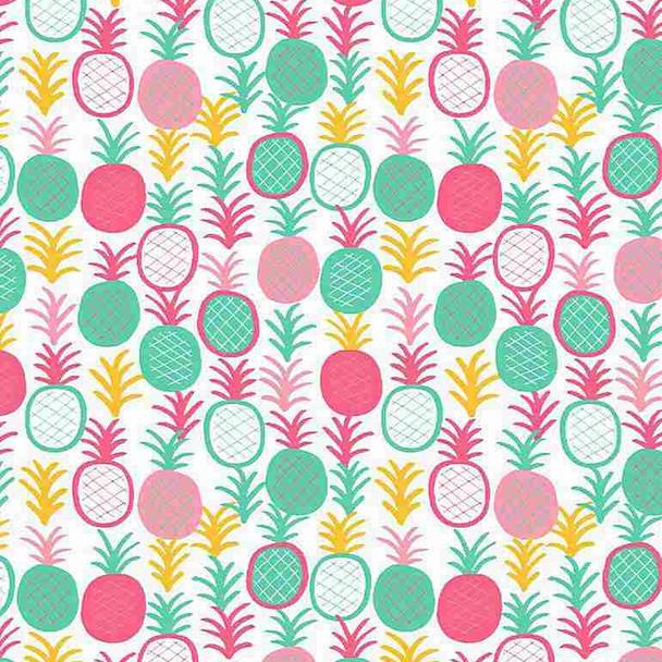 Bright pineapple fabric - Dear Stella Aloha cotton fabric, QTR YD