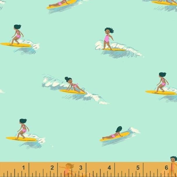 Mint Tiny Surfers fabrics design