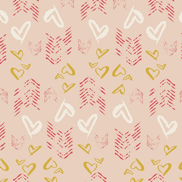 Gold Hearts Fletching cotton fabrics design