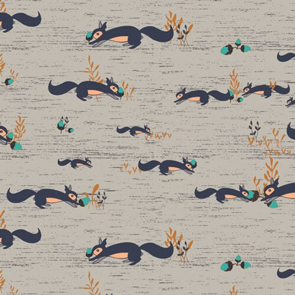 Squirrels at Play Forester cotton fabrics design