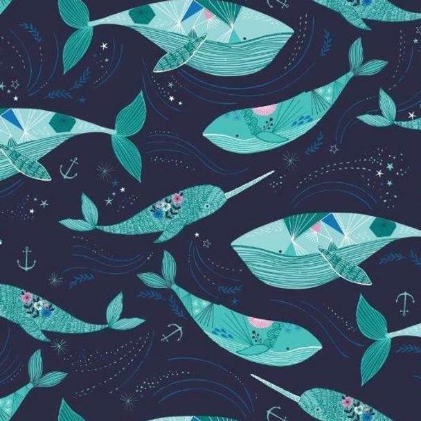 Dark blue whale cotton fabrics design