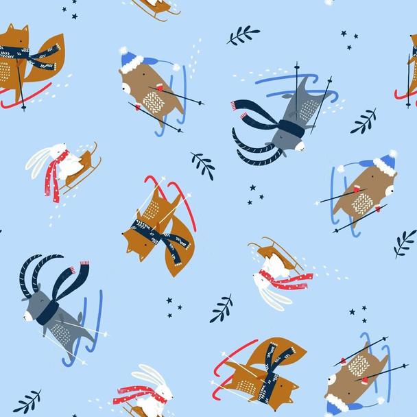 Snow Skiing animals cotton fabrics design