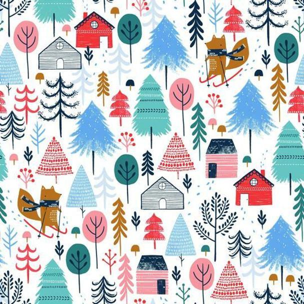 Snow Village cotton fabrics design