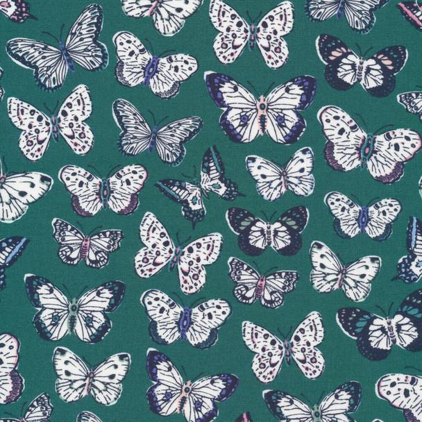 Green navy butterfly fabrics design