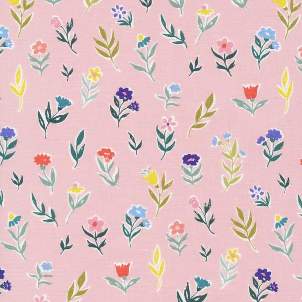 Pink Tulip Daisy floral fabrics design