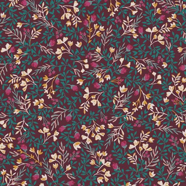 Dark Purple Floral floral fabrics design