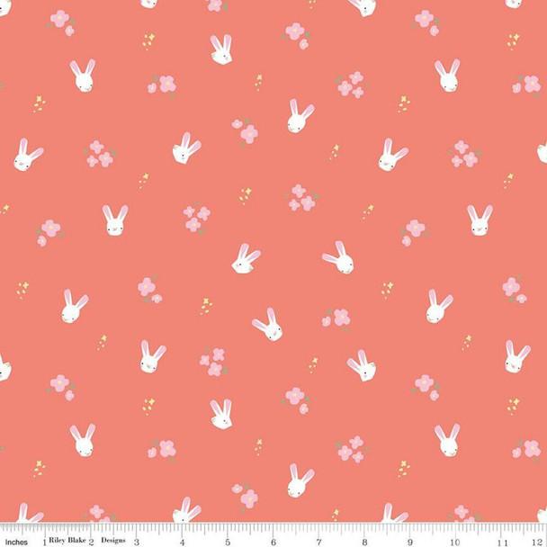 Coral Easter bunnies cotton fabrics design