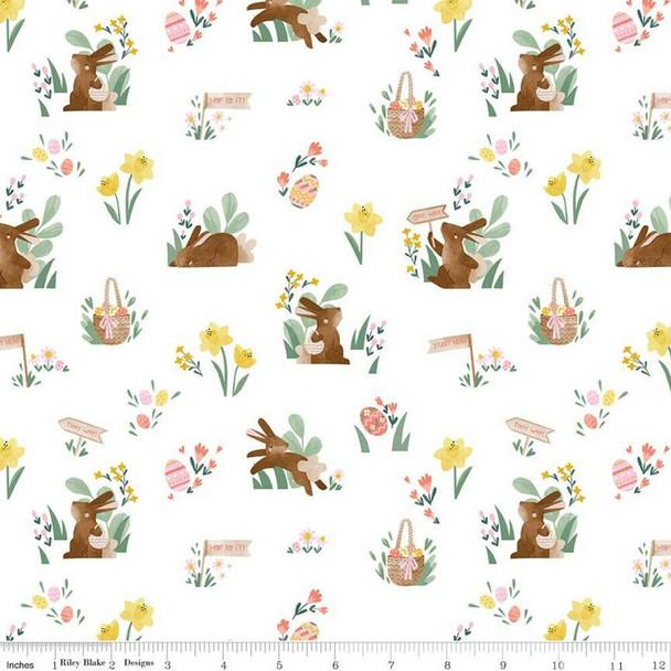 Easter white cotton fabrics design