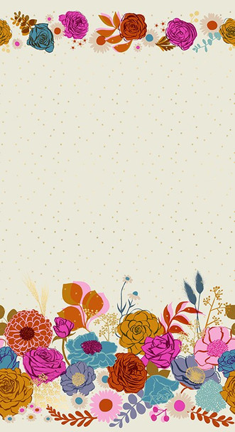 Shine floral cream double border fabrics design