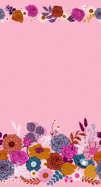 Shine floral peony double border fabrics design