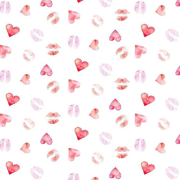 Lipstick Kisses Love cotton Fabrics design