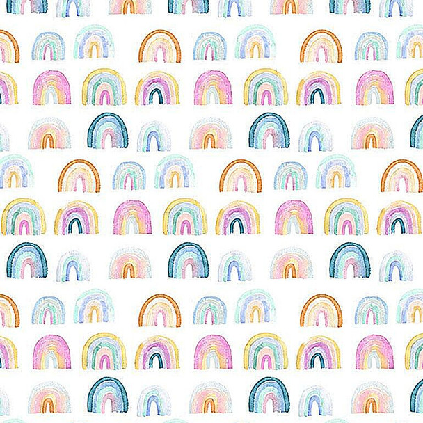 Watercolor Rainbows cotton Fabrics design