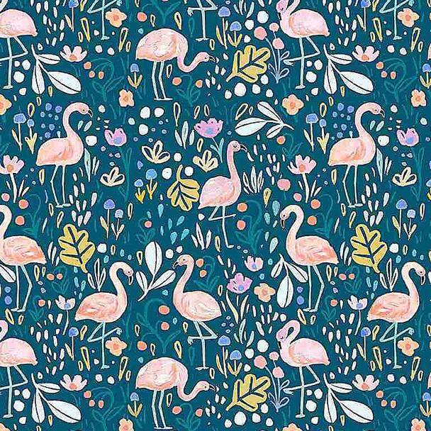 Navy Flamingo Fling cotton fabrics design