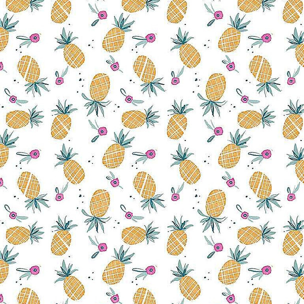 Pineapples fruit cotton fabrics design