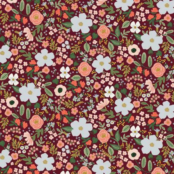 Wild Rose Burgendy Metallic cotton fabrics design
