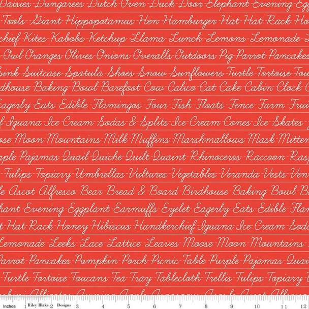 Red Words Hungry Animal Alphabet fabrics design