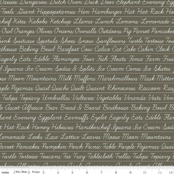Gray Words Hungry Animal Alphabet fabrics design