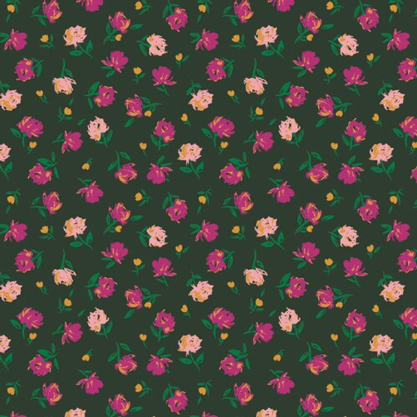 Green Rosebuds Lunar Floral fabrics design