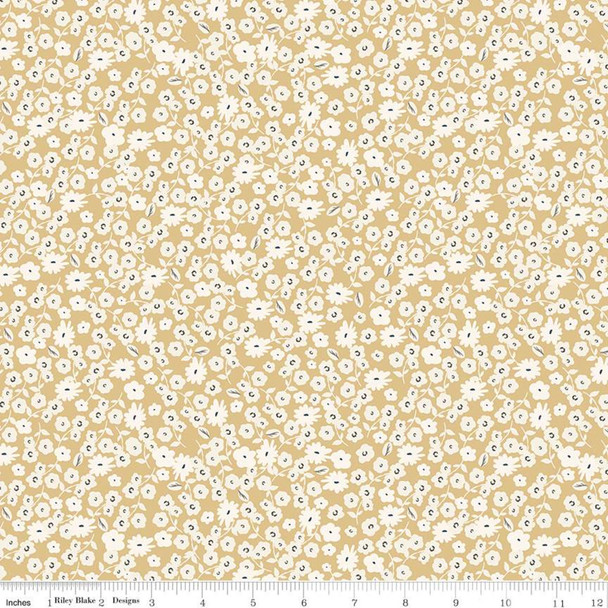 Gold tiny white floral cotton fabric Riley Blake Blossoms