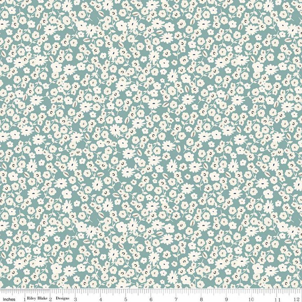 Teal blue small floral quilt cotton Blossoms by Riley Blake