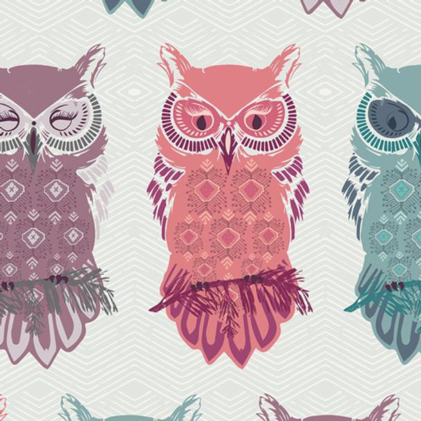 Pastel owl fabric, Art Gallery Fabrics Bird of Night Mist cotton, QTR YD