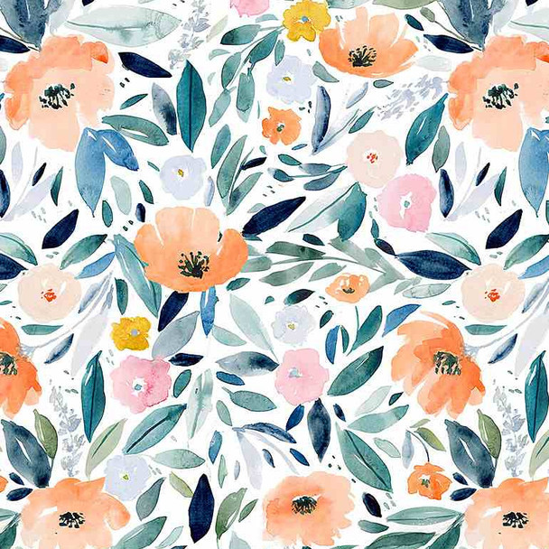 Watercolor floral fabric After the Rain quilting cotton fabric