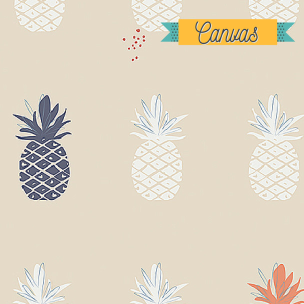 Pineapple blue coral CANVAS fabric AGF Ananas Cream