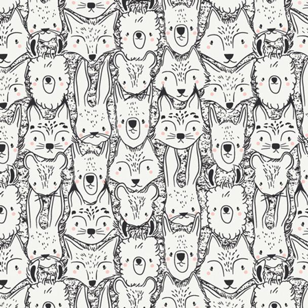 Wild Friends Animal cotton fabric Pacha Art Gallery Fabrics