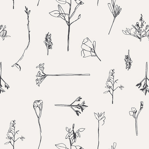Hand Drawn Flower fabric modern floral cotton AGF Sonic Flora