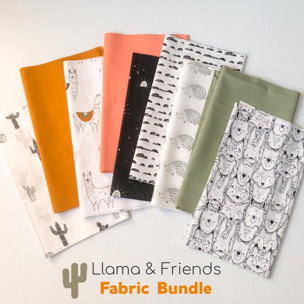 Llama and Friends 9-piece Fabric Bundle quilt cotton - AGF Pacha bundle