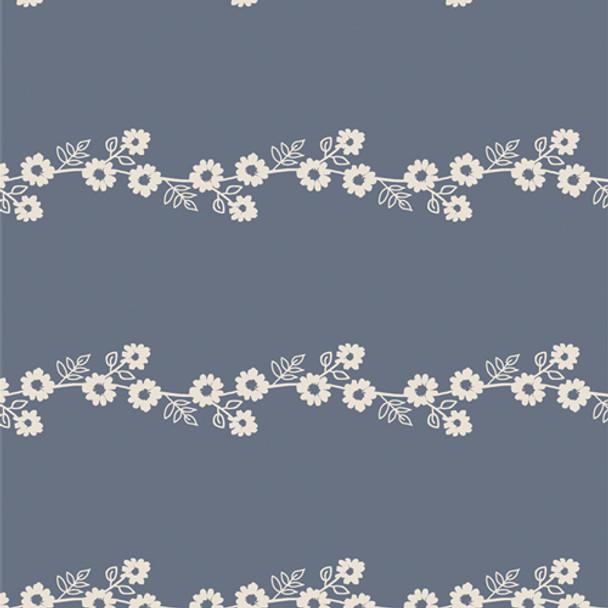 Blue white Daisy Chain floral fabric AGF Lilliput cotton QTR YD