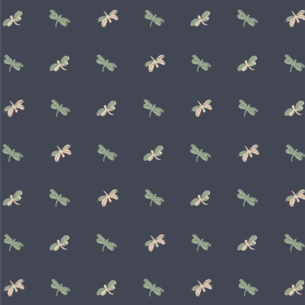 Navy tiny Dragonflies fabric Skimmers outdoor summer fabric QTR YD