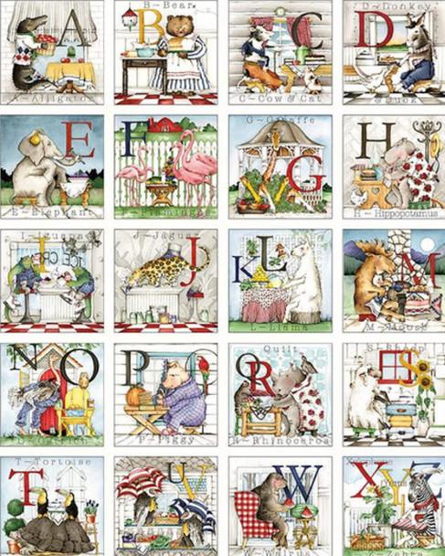 Animal Alphabet fabric panel - Riley Blake Hungry Animal ABC panel