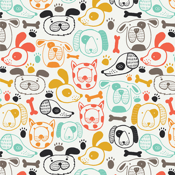 Colorful cute dog fabric - Woof this Way cotton AGF Oh Woof!