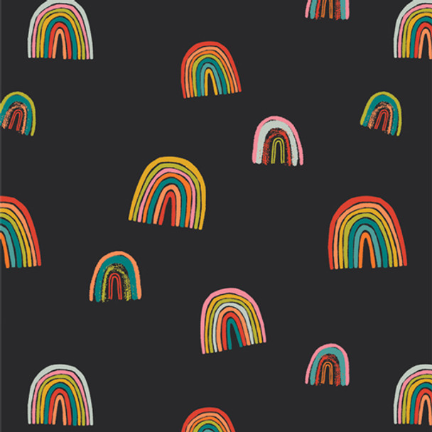 Black rainbow cotton fabric Oh, Woof! Fortunate Love QTR YD
