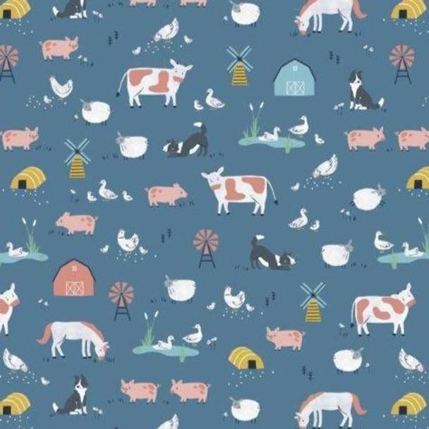 Farm animals cotton sewing fabric Dashwood Studio quilt cotton