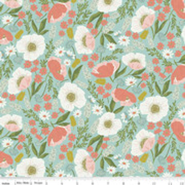 Mint Sky Tea with Bea floral cotton fabric Riley Blake Designs