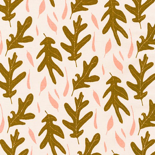 Champagne coral leaf linen fabric Quarry Trail Robert Kaufman linen
