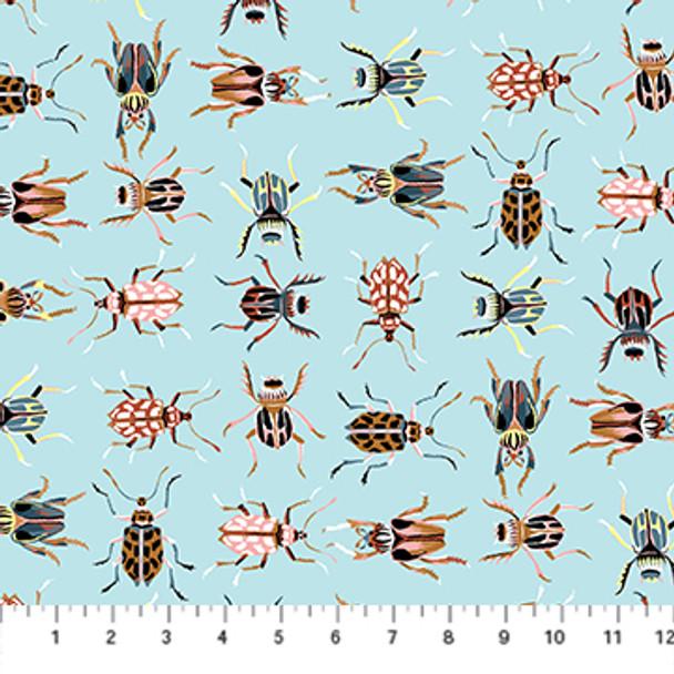 Blue Bugs fabric cotton - FIGO Fabrics Forage collection QTR YD
