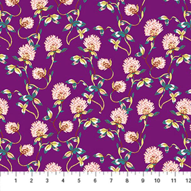 Purple floral fabric - Clover Forage FIGO Fabrics quilting cotton