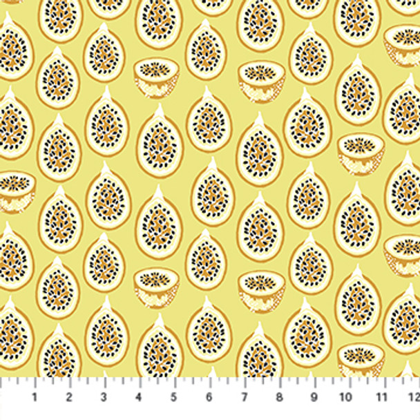 Yellow Passion Fruit fabric Forage by FIGO Fabrics cotton fabric