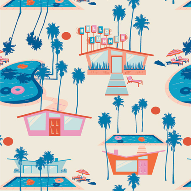 Retro beach house blue orange Hello Summer Fresh cotton