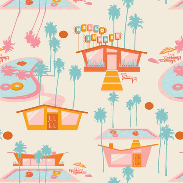 Retro beach house pink orange Hello Summer Hot quilting cotton Sunburst