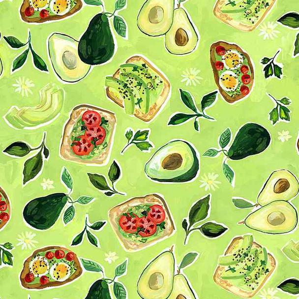 Green Avocado quilt cotton fabric Avocado Toast by Dear Stella