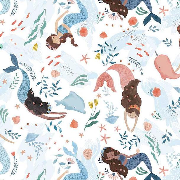 Mermaid Dolphin Narwhal quilt cotton summer fabric Dear Stella