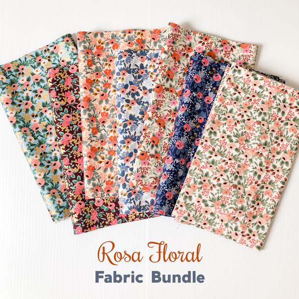 Rifle Paper Co Rosa Floral 7 piece fabric bundle - Rifle Paper quilt cotton bundle
