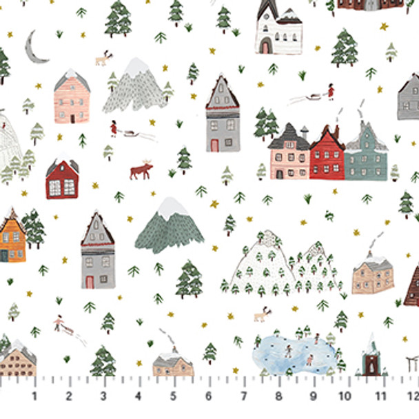Winter Landscape holiday quilting cotton Winter Frost by FIGO