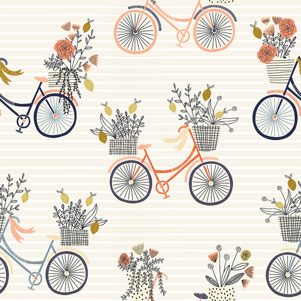 Evening Ride in Paradise metallic - RJR Fabrics Summer in the Cotswolds cotton