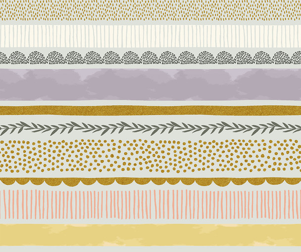 Bumble Bee Stripe Mist metallic - RJR Fabrics Summer in the Cotswolds cotton