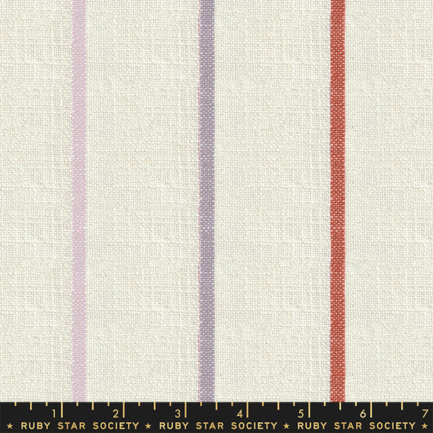 Sunset cream stripe woven cotton fabric - Warp Weft Heirloom Ruby Star